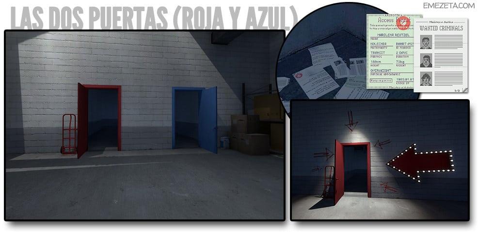 Las dos puertas (roja y azul)