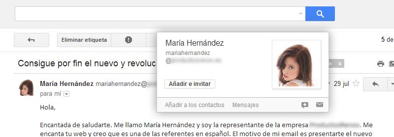 Remitente de email: María Hernández