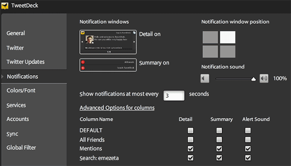 tweetdeck opciones options notifications