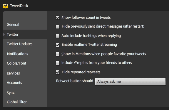 tweetdeck opciones options twitter