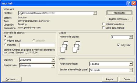 universal document converter pdf impresora