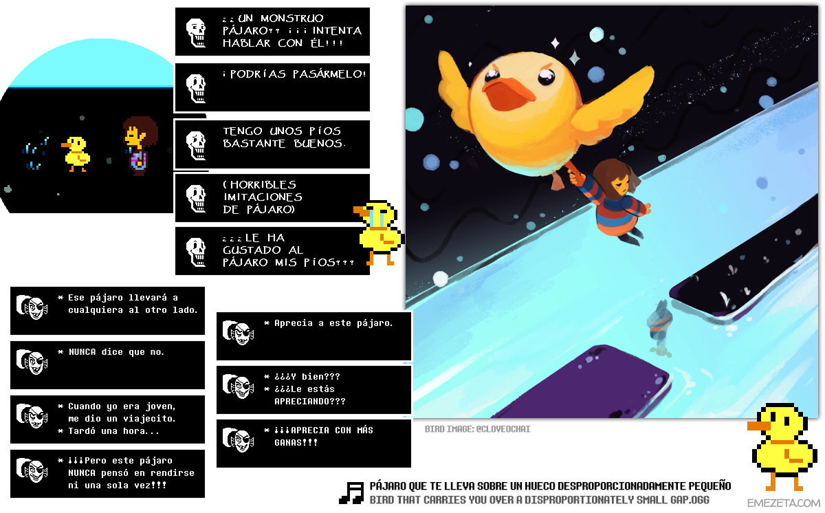 Undertale: Bird that carries you over a disproportionately small gap