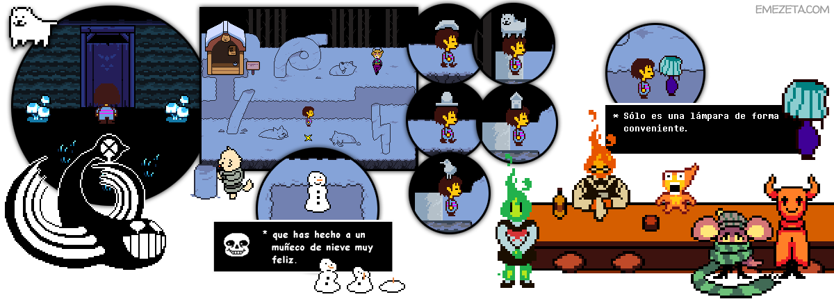 Snowdin: Annoying Dog, Snowman y Heats Flamesman