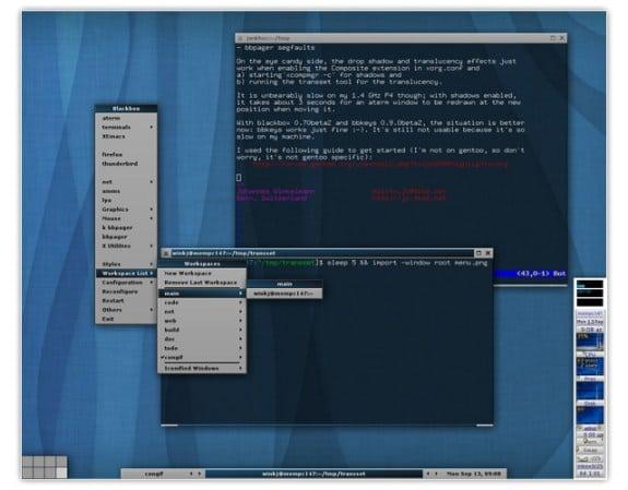 gestor de ventanas linux blackbox