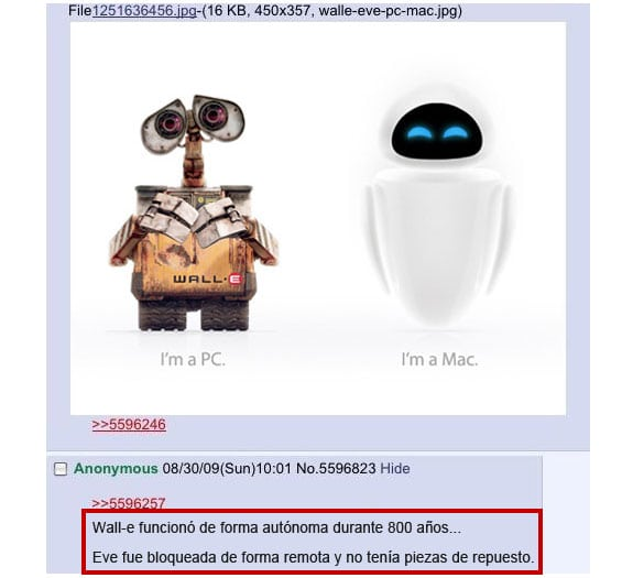 Wall-E es un PC, Eve es un Mac