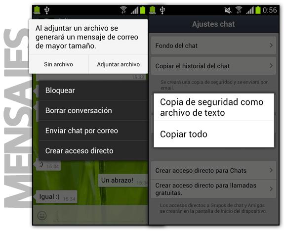 Historial: Enviar chat por correo WhatsApp y Copia de seguridad de chat en LINE