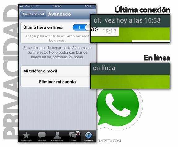 Ocultar mi última conexión en WhatsApp