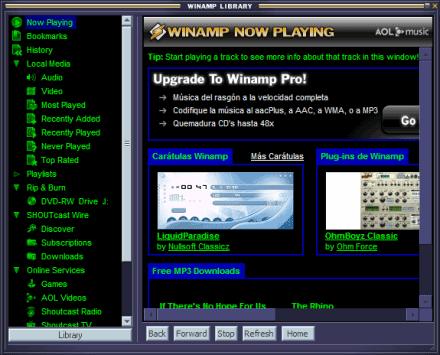 winamp media library